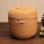 キャニスター 収納ボックス 蓋付き 籐製 手織り 食品貯蔵 保存容器 キッチン 茶葉 コンテナ