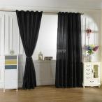 6色2サイズ選べる ブラックアウト 窓 カーテン サテンカーテン 窓ブラインド ロッドポケットカーテン エレガント - ブラック, 200x250cm