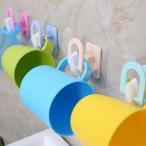 壁 粘着性 歯ブラシホルダー ブラケット リンスマグカップ ハンガー バスルームラック 実用品 色ランダム