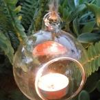 SunniMix ハンギンググラス ボール ティーライト キャンドルホルダー フラワーポット 花瓶 家庭 庭園 教会の装飾 多種選べる - ラウンドベース, 8cm