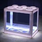 ミニ水槽LEDライトクリアオーナメント水族館オフィスデスクトップ装飾白