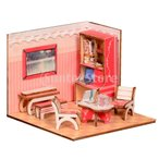 4色選択 DIYドールハウス 部屋家具 1/24スケール ダイニングルーム ベッドルーム 家具 装飾 - スタディルーム