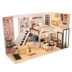 家具LEDライトデュプレックスアパートとDIYウッドドールハウスキットミニチュア