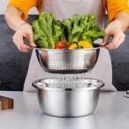 ステンレス製洗面器キッチンザルおろし金サラダメーカーボウルストレーナー28cm