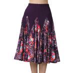 女性ビッグスイングラテン社交ダンススカートワルツフラメンコスカートパープル