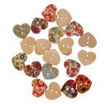ボタン 木製 縫製工芸 装飾 手作り 混合色 かわいい 多色 ハート形 花柄 2穴 約20個