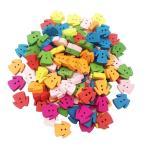 多色 ボタン 服の形状 2穴 木製 手芸用品 手作り 約100ピース