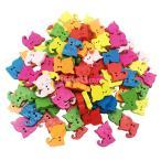 多色 ボタン 漫画の猫 2穴 木製 手芸用品 手作り 子供 約100ピース