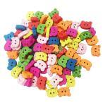 多色 ボタン 虎 2穴 木製 手芸用品 手作り 子供 約100ピース