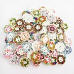 多色 ボタン 花 2穴 木製 手芸用品 手作り 約100ピース
