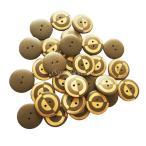 ヴィンテージ 23mm ボタン ラウンド 2穴 木製 手芸用品 手作り 約30ピース
