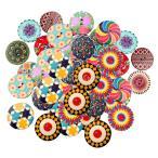 多色 ボタン 円形 2穴 25mm 木製 手芸用品 手作り 約100ピース