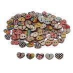 木製ボタン 縫製ボタン 装飾ボタン ハート形 ボタン 2穴 DIYクラフト 約100枚