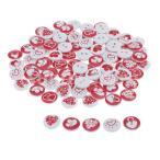 木製ボタン 縫製ボタン 装飾ボタン 手作りボタン DIY 工芸品 アクセサリーパーツ ハートのパタン