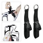 歩行器.歩行器.松葉杖.車椅子.ショッピングカート.2パック用の丸い強力なハンディフッククリップオーガナイザーハンガー (ブラック)