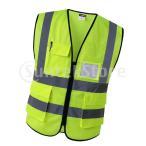 反射安全ベストエンジニア建設用ギア、ポケット付きイエローs