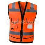 反射ベスト作業安全防水ノースリーブチョッキオレンジXL
