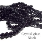 クリスタルガラス ビーズ ボタンカット ブラック 約6×4mm 連売り ハンドメイド アクセサリー