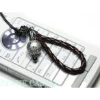ストラップ 携帯 ストラップ 革ひも編み込みストラップ 携帯 ストラップ (茶ひも) 水晶 馬 (銀彫り)12mm 天然石 パワーストーン