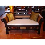 木製ソファ アジアン家具 ベンチソファ  レトロ調木製ソファー アンティーク オリエンタル