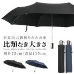 折りたたみ傘 大きい 傘 メンズ テフロン強力撥水 70cm以上の75cm ブラック/ネイビー