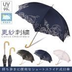 ショッピングuvカット 日傘 晴雨兼用 UVカット率99% 更紗刺繍 レディース スライド式