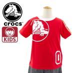 女の子用半袖子どもTシャツ レッド クロックス 116383 サンダルブランド KIDS TEE 正規取扱品 通販 販売 即納 カットソー 子供服 くろっくす