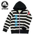 キッズ パーカー ジップアップ crocs クロックス 145156 ジュニア 子供服 スウェット 裏起毛 PARKA 販売 子供用 スエット ジップフード HOODIE ZIP ブラック