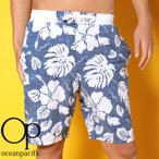 オーピーメンズ水着花柄ハワイアン柄サーフトランクスネイビー紺色518430NVY