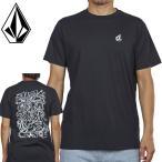 ボルコム バックプリントTシャツ 半そで ティーシャツ 黒色 ブラック メンズ