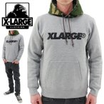 X-LARGE(エクストララージ) STANDARD LOGO PO HD(01164219)ASH プルオーバーパーカー グレー 迷彩柄