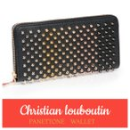 Christian Louboutin/クリスチャン・ルブタン Panettone Wallet 2017新作 スタッズ ロゴ メンズ レディース 長財布