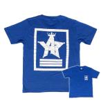 ショッピングjam Tシャツ ロゴ カットソー 半袖 ブルー M,L デザイン プリント オリジナル メール便可 CROWN STAR「ブルー」