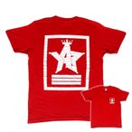 ショッピングjam Tシャツ ロゴ カットソー 半袖 レッド M,L デザイン プリント オリジナル メール便可 CROWN STAR「レッド」