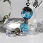 携帯 ストラップ とんぼ玉 ほたる玉 ガラス ビーズ 工芸 スカイブルー