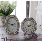 リボンパールの置時計♪ (ラウンド・オーバル) アンティーク風 シャビーシック フレンチカントリー テーブルクロック リボンモチーフ アンティーク 雑貨 anti