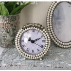 リボンパールの置時計 ラウンド  テーブルクロック 可愛い アンティーク風 シャビーシック フレンチカントリー テーブルクロック リボンモチーフ アンティーク