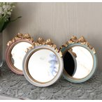 プティリボンミラー(3色あり)壁掛け・卓上両用 ウォールミラー  可愛い 小さい アンティーク風 シャビーシック フレンチカントリー テーブルクロック リボン