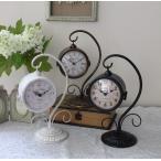 アンティークな両面置時計 (オフホワイト・ブロンズ・ブラック) テーブルクロック 可愛い アンティーク風 シャビーシック フレンチカントリー テーブルクロ