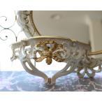 リボンコンソール イタリア製 ホワイト×ゴールド ロココ調 シャビー 壁掛けシェルフ・棚