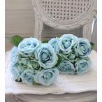 オールド・ブルーブーケローズ(8本タイプ)  【シルクフラワー・アーティフィシャルフラワー】 紫色 花束 薔薇 造花