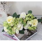 可愛い造花 クリームローズ・スノーボールブーケ【シルクフラワー・アーティフィシャルフラワー】 薔薇 花束 造花 ナチュラル