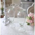 ガラスベース ヨーロピアンコンポート 花瓶 ベース ヨーロピアン型 ガラス花器 洋風 輸入雑貨 シャビーシック ヨーロピアン雑貨 アンティーク 雑貨 姫系 アンテ