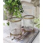 猫足のアンティークなグラスポット(2種D、E) 小物入れ 花瓶 ペン立て  フレンチカントリー アンティーク 雑貨 輸入雑貨 antique shabby chic