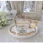 アンティーク風 フレンチ食器 フラワーシリーズ(レース1359) ガラスカップ&ソーサー フレンチ食器 フランス アンティーク調 陶器 フレンチカントリー シャビ