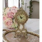 ロココ調のアイボリーゴールド置時計 クオーツ時計 テーブルクロック 輸入雑貨 アンティーク調 アンティーク 雑貨 antique お洒落