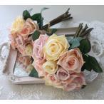 ミックスローズブーケ9輪 【シルクフラワー・アーティフィシャルフラワー】 ピンク パープル クリーム 薔薇 造花