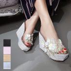 ショッピングウェッジソール 2017 新作 サンダル ウェッジソール 花柄 ボタニカル 刺繍 レース 厚底 靴 シューズ レディース