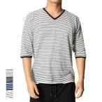 ショッピングカットソー カットソー Tシャツ ビッグシルエット ボーダー Vネック メンズ