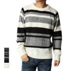 ニット セーター クルーネック 長袖 ボーダー 畦編み あぜ編み アクリルニット プルオーバー トップス メンズ